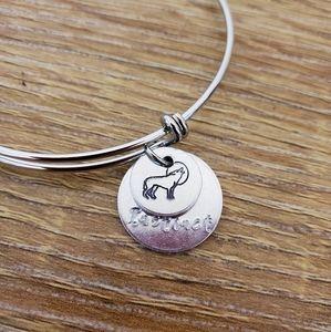 WOLF Handstamped charm bracelet w/ Story tag
